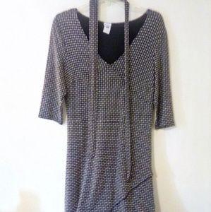 GAP Stretch 3/4 Sleeve Midi Dress with Waist Tie